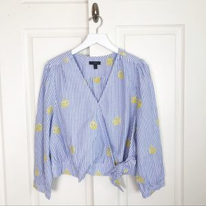 J. Crew Embroidered Pineapple Top NWOT